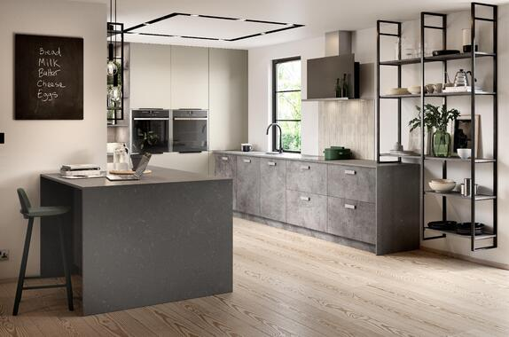 Unity Pebble Grey Matt & Trellick Concrete kitchen
