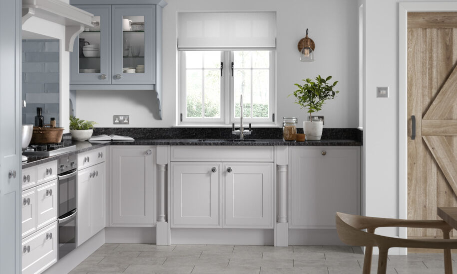Stanhope Langley Matt Blue Canvas & Matt Dove Grey kitchen