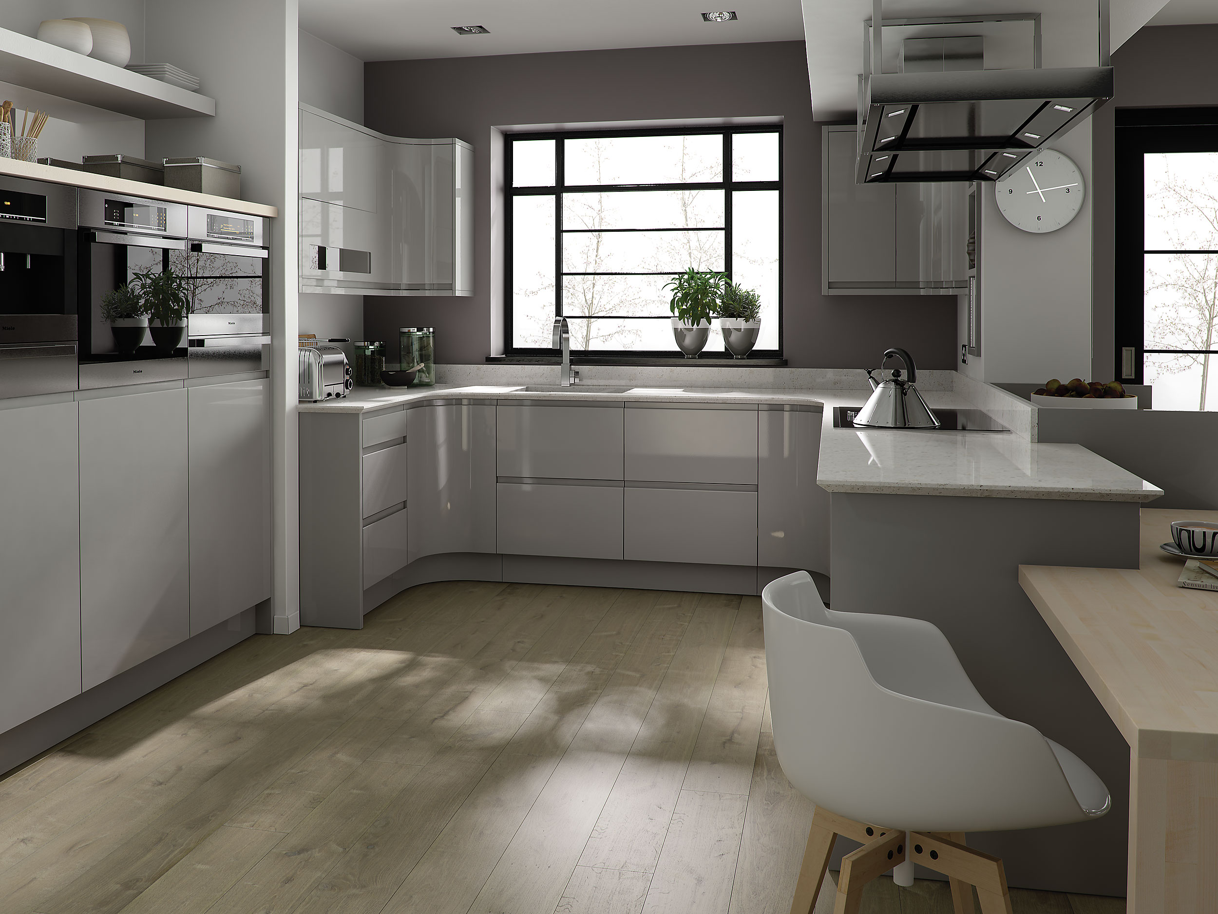 Remo contemporary curved gloss kitchen in grey for Kitchen units grey gloss